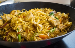 mushroom, chicken, or turkey and vegetable stir fry with fresh v
